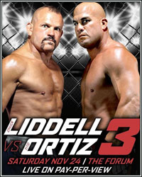 LIDDELL VS. ORTIZ 3 OFFICIALLY SET FOR NOVEMBER 24 PAY-PER-VIEW; TICKETS ON SALE THIS FRIDAY